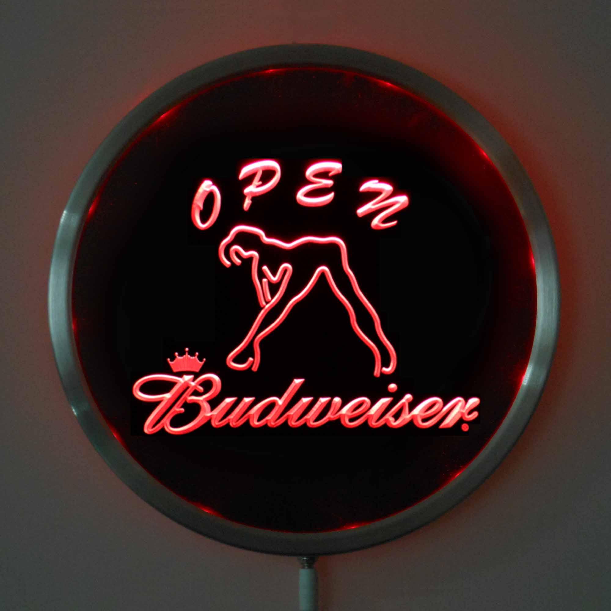 rs 0051 Budweiser Dancer OPEN LED Neon Light Round Signss