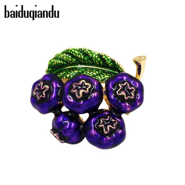 baiduqiandu Enameled Cranberry Brooch Pins for Women Blueberry Wedding Party Acc
