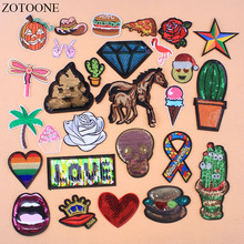 ZOTOONE Iron On Reversible Sequin Patches For Clothing Applique Embroidered Love Heart Skull Cactus Patch Stickers Clothes E