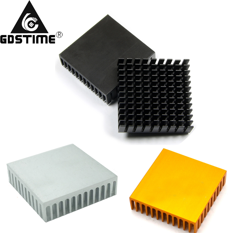 100Pcs Gdstime 40 40 10mm Aluminum Heatsink Heat Sink Radiator Cooling cooler For Electronic Chip IC LED computer With 3M Tape in Fans Cooling from Computer Office