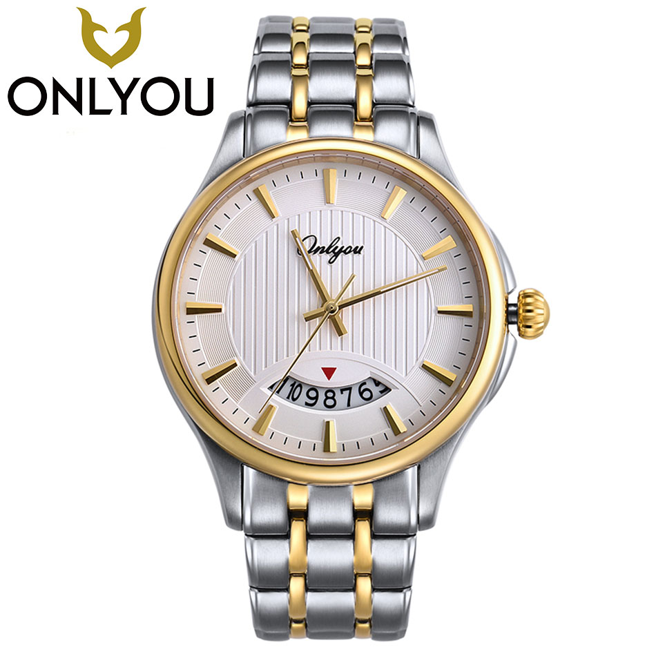 ONLYOU Luxury Watch Men Women Gold Silver Casual Geneva Quartz-Watch Stainless Steel Watch 50m Waterproof Clock Ladies watch unicorn 3d printing fashion makeup bag maleta de maquiagem cosmetic bag necessaire bags organizer party neceser maquillaje