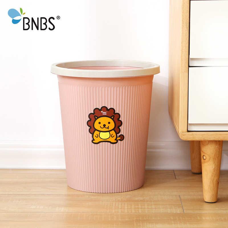 BNBS Leão Bonito Padrão Plástico Lata de lixo caixote do Lixo Da Cozinha Sala de Estar Escritório Lixo Cesta de Papel Higiênico