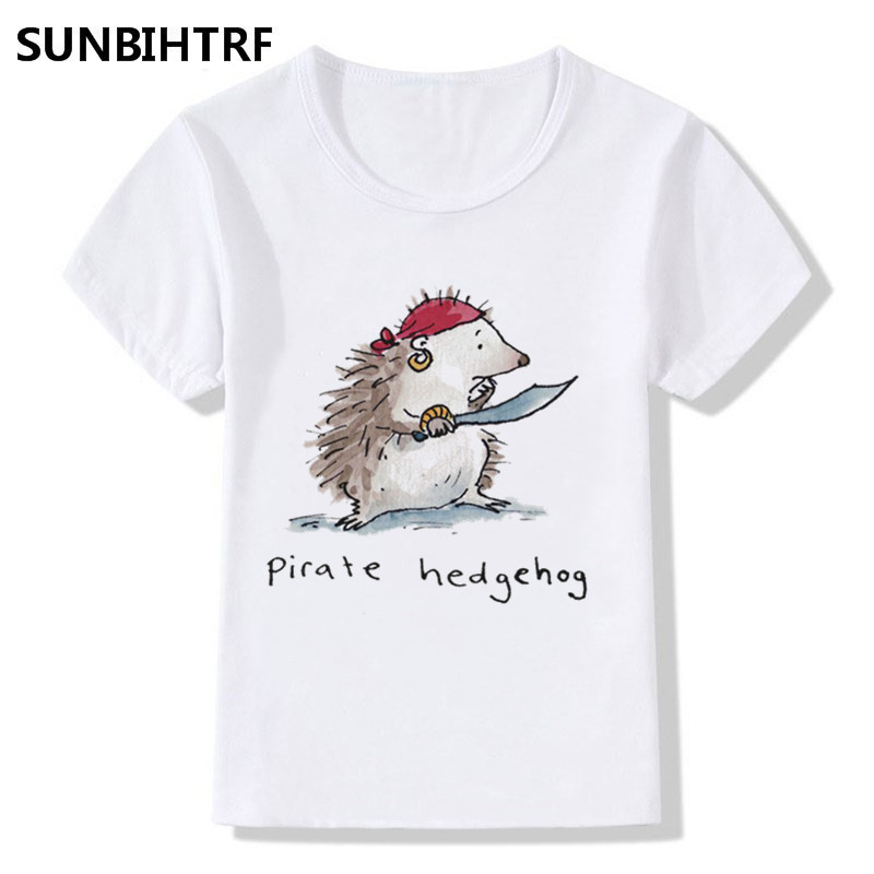 Glorious Boy And Girl Remember Printing Pirate Animal Hedgehog/panda/owl T-shirts Children Summer T Shirts Kids Short Sleeve Tops Tees
