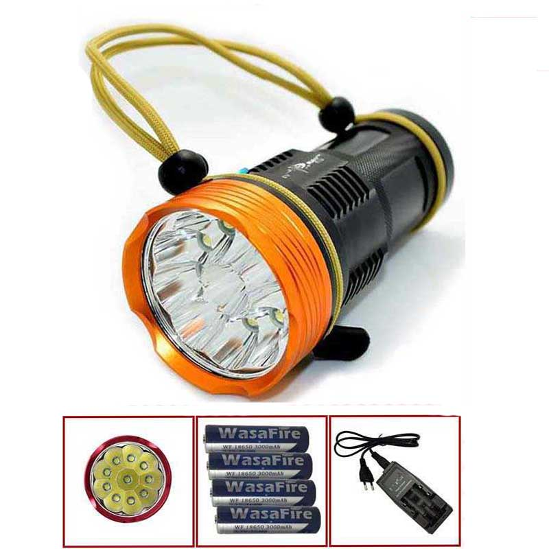 15000 Lumens 10x XML T6 LED Flashlight Torch Hunting Searchlight 3 Modes High power camp lantern+4x18650 battery+charger 3800lm torch cree t6 5 modes led tactical flashlight torch waterproof hunting light lantern zaklamp taschenlampe torcia