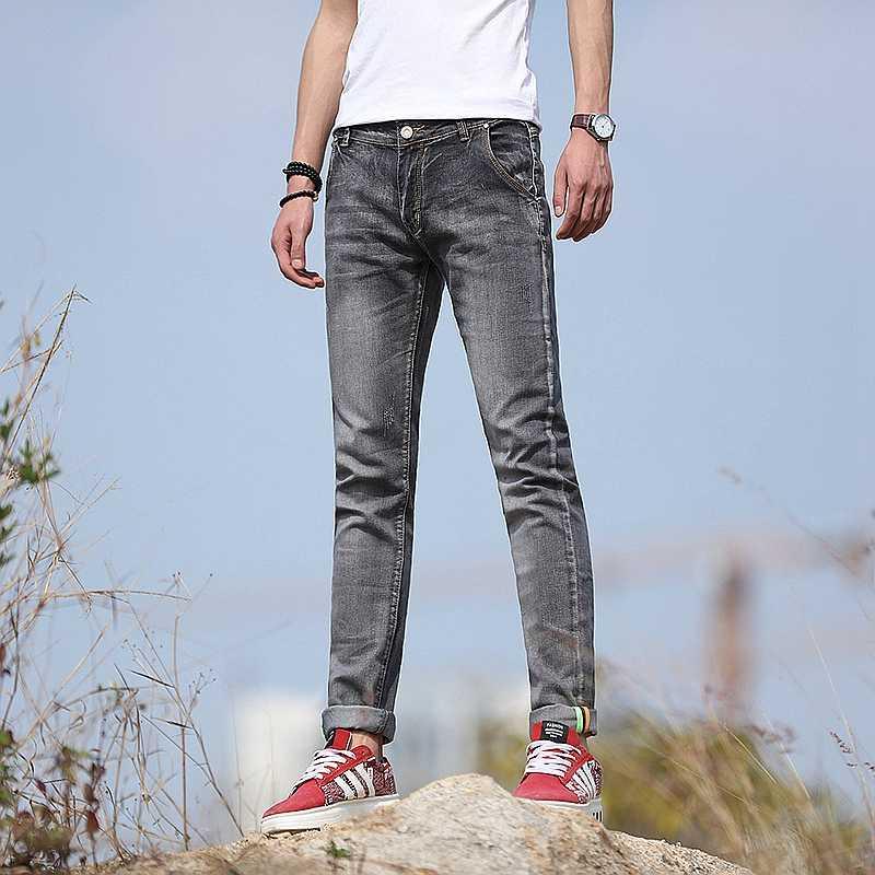 2018 новые модные мужские повседневные Стрейчевые узкие джинсы брюки плотные брюки однотонные 5 цветов