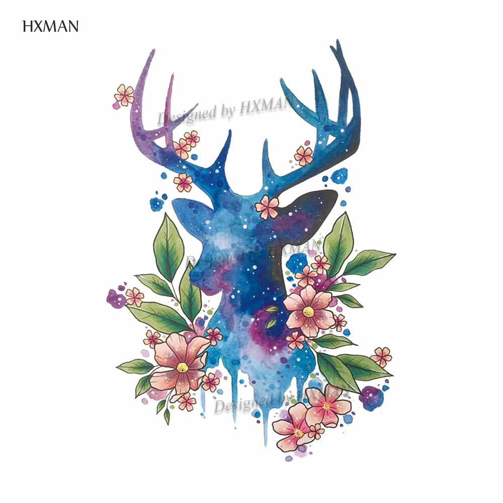 HXMAN Deer Temporary Tattoo Sticker Watercolor Tattoos For Women Fashion Body Art Waterproof Hand Fake Tatoo 9.8X6cm A-164