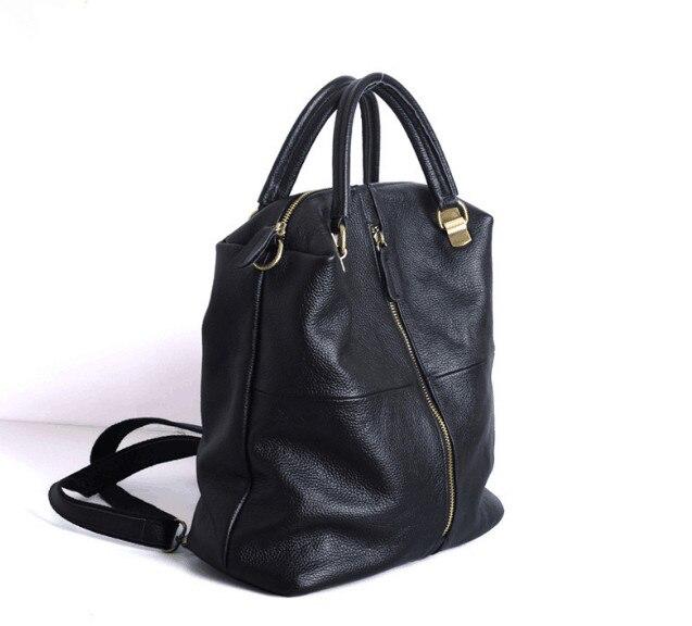 Solide echtes leder kuh haut frauen rucksack große kapazität zip tasche-in Rucksäcke aus Gepäck & Taschen bei  Gruppe 2
