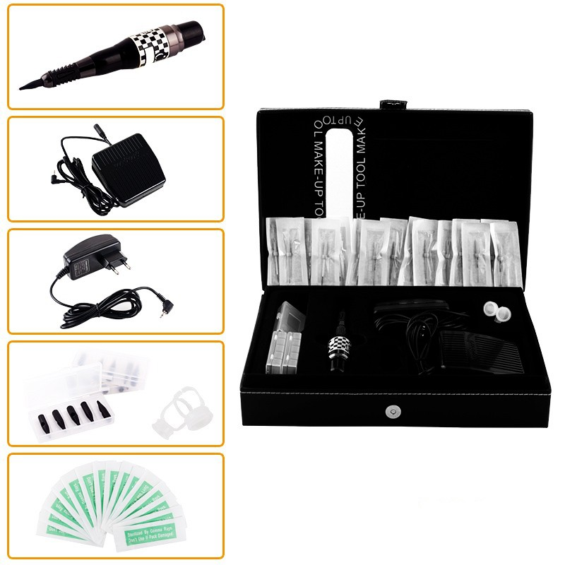 ФОТО YILONG Eyebrow Eyeliner Lip Tattoo Machine Gun Complete Tattoo Machine Kit For Permanent Makeup with Foot Pedal Switch Ink Cups