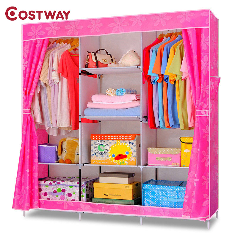 COSTWAY Bedroom Folding Oxford Cloth Wardrobes Cloth Storage Saving Space Locker Closet Sundries Dustproof Storage Cabinet W0121 simple fashion moistureproof sealing thick oxford fabric cloth wardrobe rustproof steel pipe closet 133d