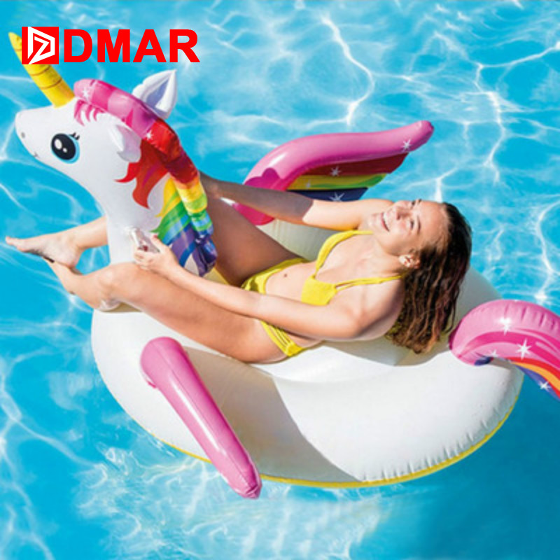 DMAR 201cm Inflatable Unicorn Swimming Ring Giant Pool Float Toys Water Beach Mattress Lifebuoy Adults Party