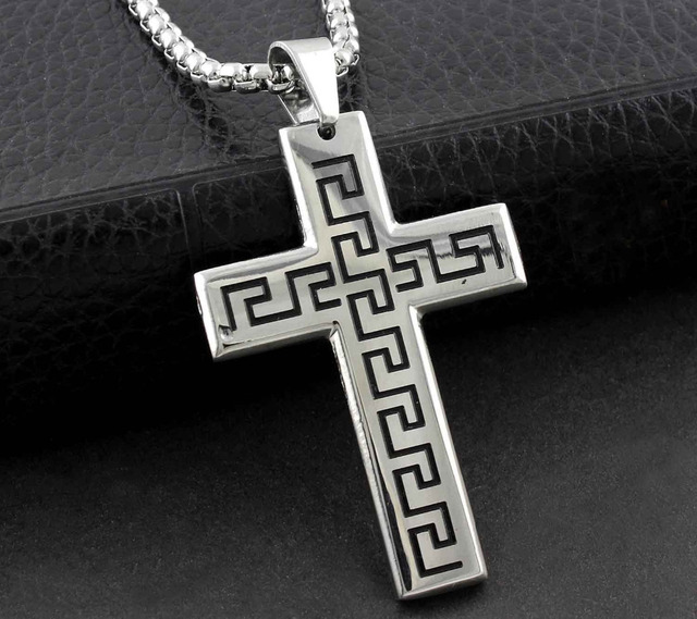 Mens stainless steel greek key cross pendant necklace chain mens stainless steel greek key cross pendant necklace chain jewelry gift audiocablefo