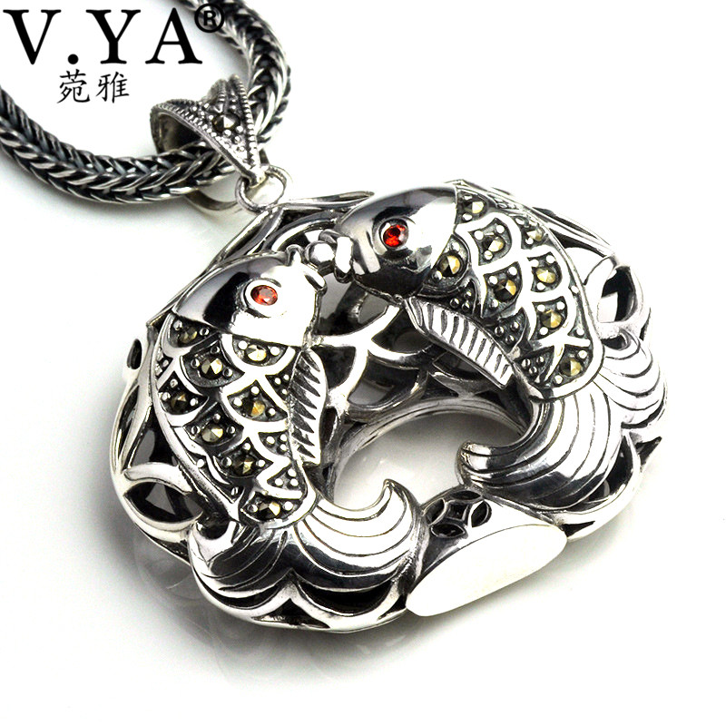 V.YA 925 Silver Double Fish Pendant For Women Retro Design Pendants Fit Most Necklace 925 Sterling Silver Jewelry High QualityV.YA 925 Silver Double Fish Pendant For Women Retro Design Pendants Fit Most Necklace 925 Sterling Silver Jewelry High Quality
