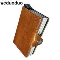 Weduoduo Men Business ID Card Holders Genuine Leather Credit Card Holder Bank Card Organizer Information Safe