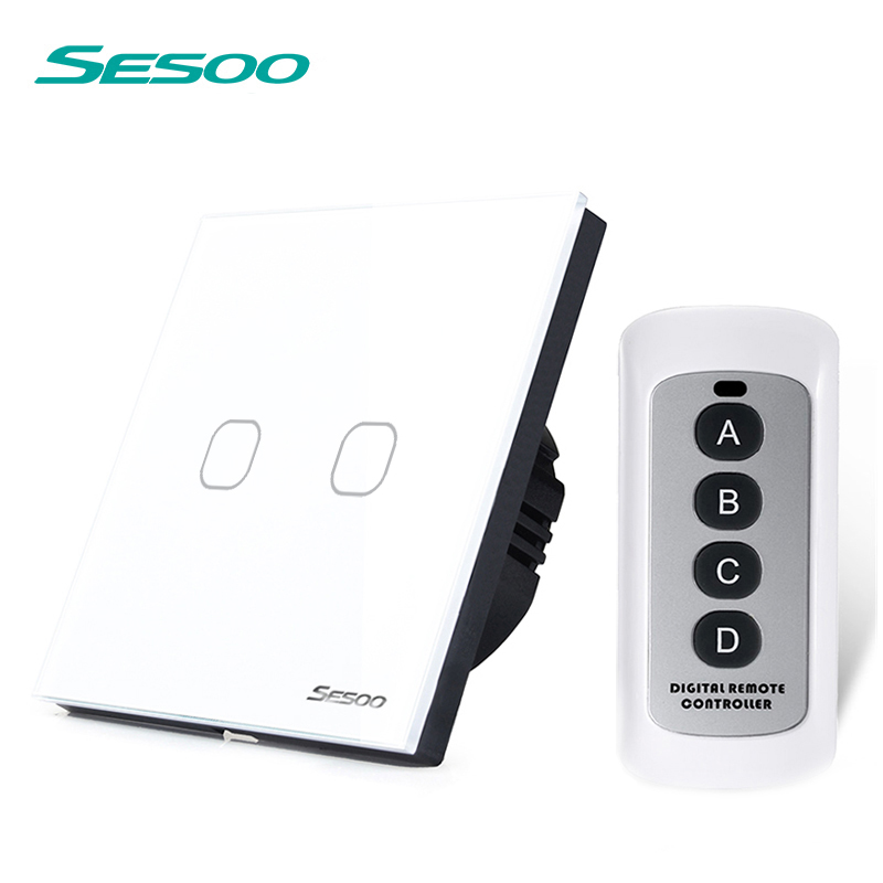 EU/UK SESOO 2 Gang 1 Way Light Switch,Crystal glass panel Remote control switch,LED Indicator For RF433 Smart home Touch Switch eu uk standard sesoo remote control switch 3 gang 1 way crystal glass switch panel wall light touch switch led blue indicator