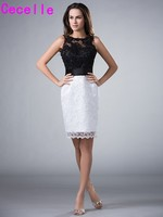 Black And White Short Sheath Beaded Lace 2017 Mother Of The Bride Dresses Sleeveless Sparkly Lace