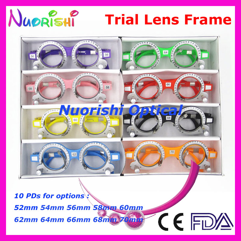 XD05 8pcs a lot Colorful Fixed PD Distance Optometry Trial Lens Frame 10 Different Colors For