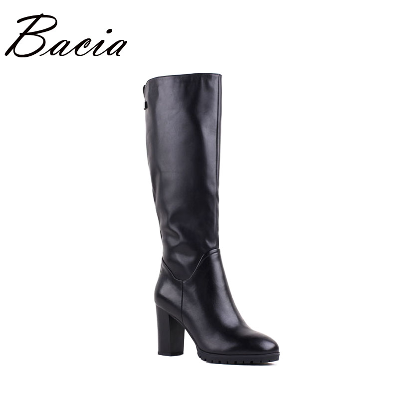 Bacia Brand High Quality Genuine Leather Boots High Heels Wool Fur Leather Winter Boots For Women Black Fashion Shoes VB087 bacia winter boots for women full grain leather boots heels 5 8cm wool fur
