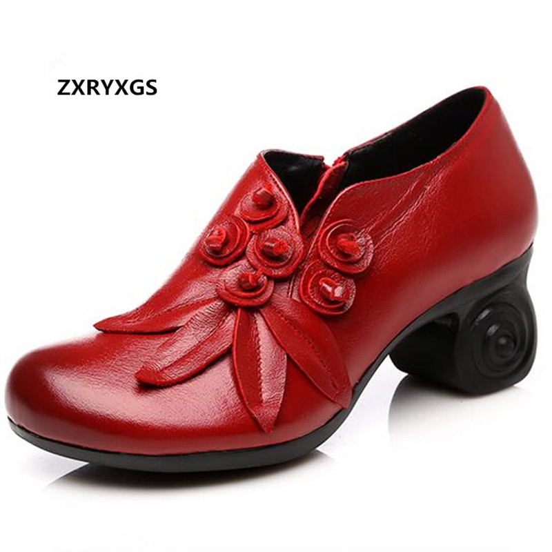 New 2019 Spring Flower Cowhide Leather Shoes Women Shoes Elegant Comfortable Fashion Shoes High Heels 6cm