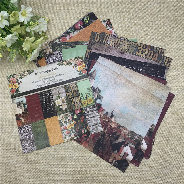 """24 Sheets 6""""X6""""Scrapbooking Pads Paper Origami Art Background Paper Card Making DIY Paper Craft"""