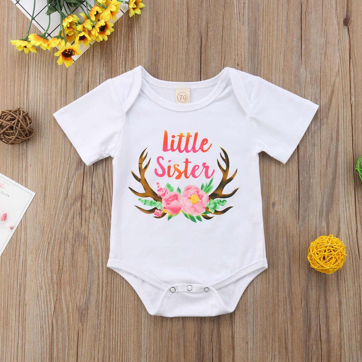Рождественская Одинаковая одежда для девочек и сестер футболка для больших сестер Комбинезон для маленьких сестер От 0 до 7 лет Одежда для маленьких девочек