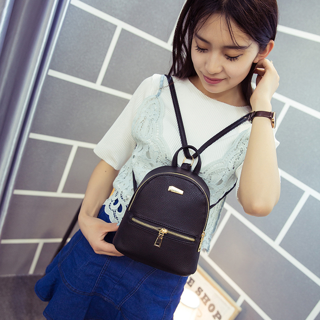 2017 Women's mini Leather Backpack 3Colors