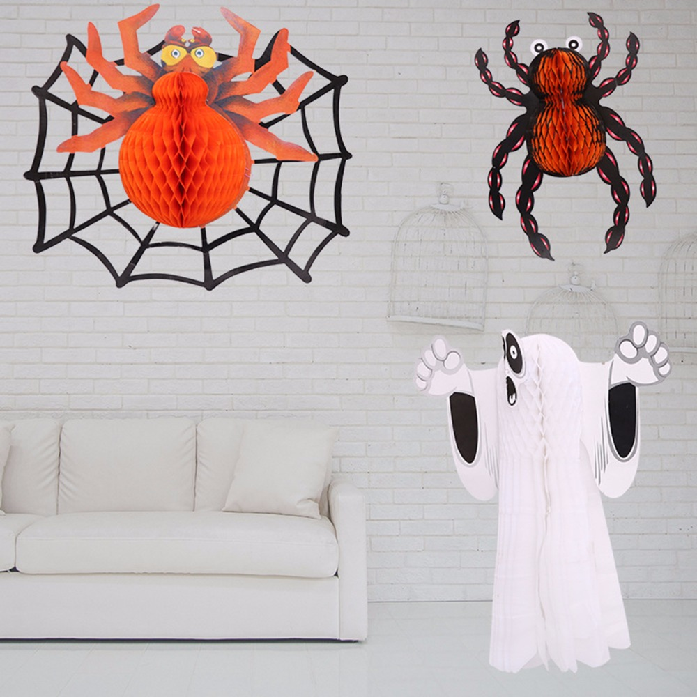 DIY 3D Paper Fold Ghost Spider Halloween Decoration Wall ... - photo#18