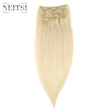 "Neitsi Brazilian Straight Clip In Hair Full Head 100% Human Hair Extensions 20 ""100g 7szt 16 klipsów 10 kolorów"