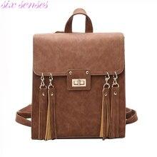 Six senses женщины мешок школы старинные леди рюкзак пу кожаный мешок femme рюкзак дорожная сумка Mochila XD4069