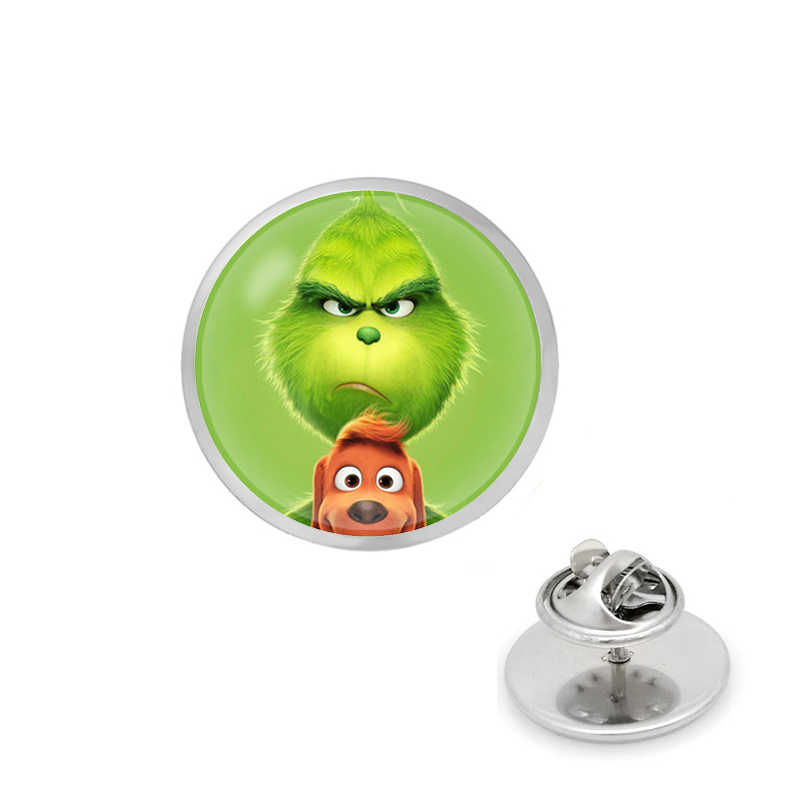 2019 NEW The Grinch Brooch Pin glass Circle Animal pin The Grinch Anime Jewelry Christmas gift The Avengers Captain Marvel