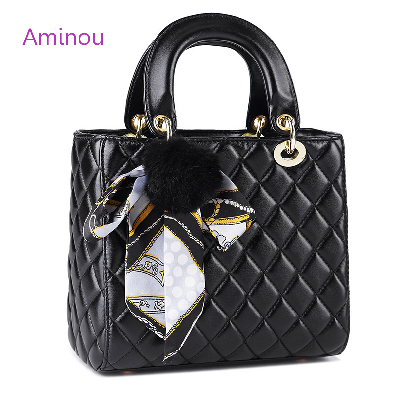 Aminou 2018 Luxury Handbags Women Bags Designer Fashion Diamomd Lattice Pu Leather Shoulder Bags Ladies Tote Bag Casual Handbag realer luxury handbags women bags designer fashion shoulder messenger bags ladies large tote bag with zipper pu leather handbag