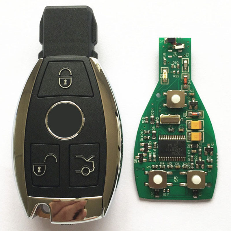New Hot 3 Button Remote Key Fob 433MHz BGA With Chip For Mercedes Benz year 2000 + Car Replacement Key with Logo new updating smart key for benz 3 button 433mhz 315mhz easy to create a new key for mecerdes good quality