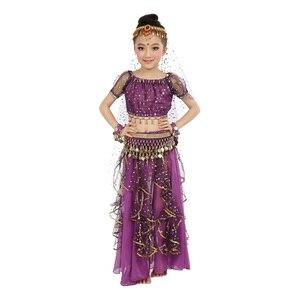 Image 4 - 2020 חדש סגנון ילדים בטן ריקוד תלבושות מזרחי תלבושות ריקוד בטן ריקוד רקדנית בגדי הודי ריקוד תלבושות 5 Pcs עבור ילדים