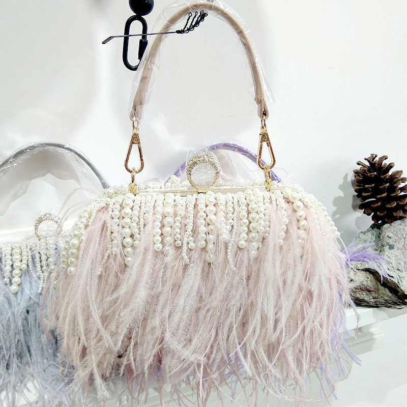 Women Real Ostrich Fur Handbag With Ring Pearl Luxury Day Clutch Diamond Evening Bag For Party