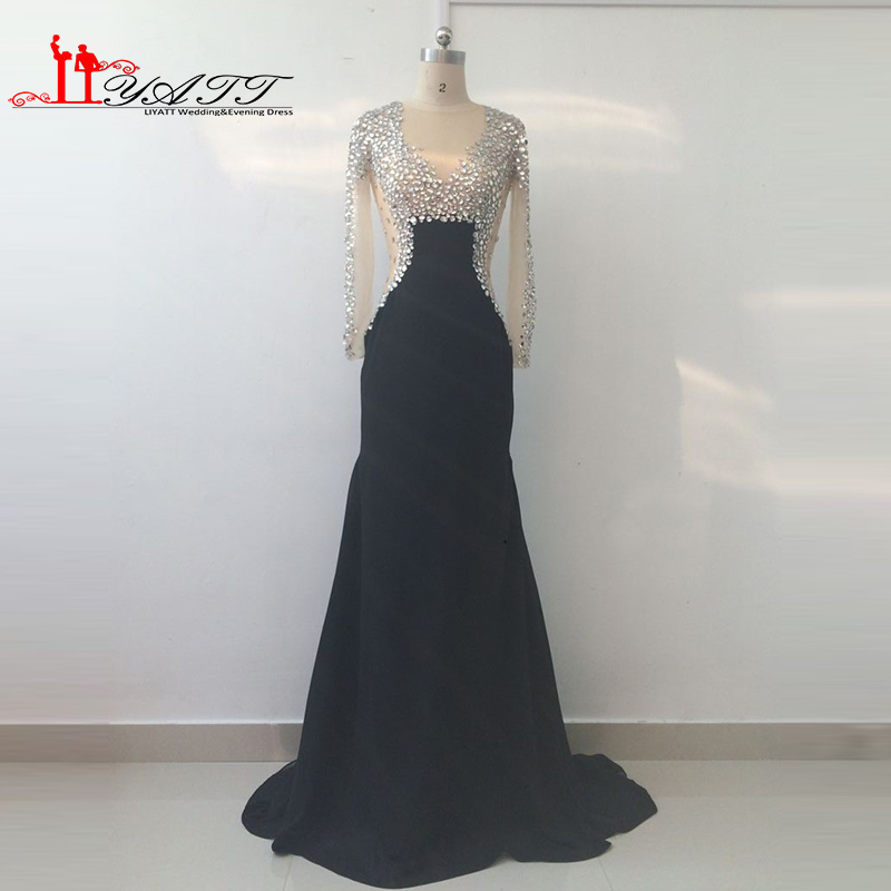 Real Picture 2016 New Evening Prom Dress Black See Through Sexy Mermaid Chiffon Arabic Dubai Heavy Beads Crystal Liyatt image