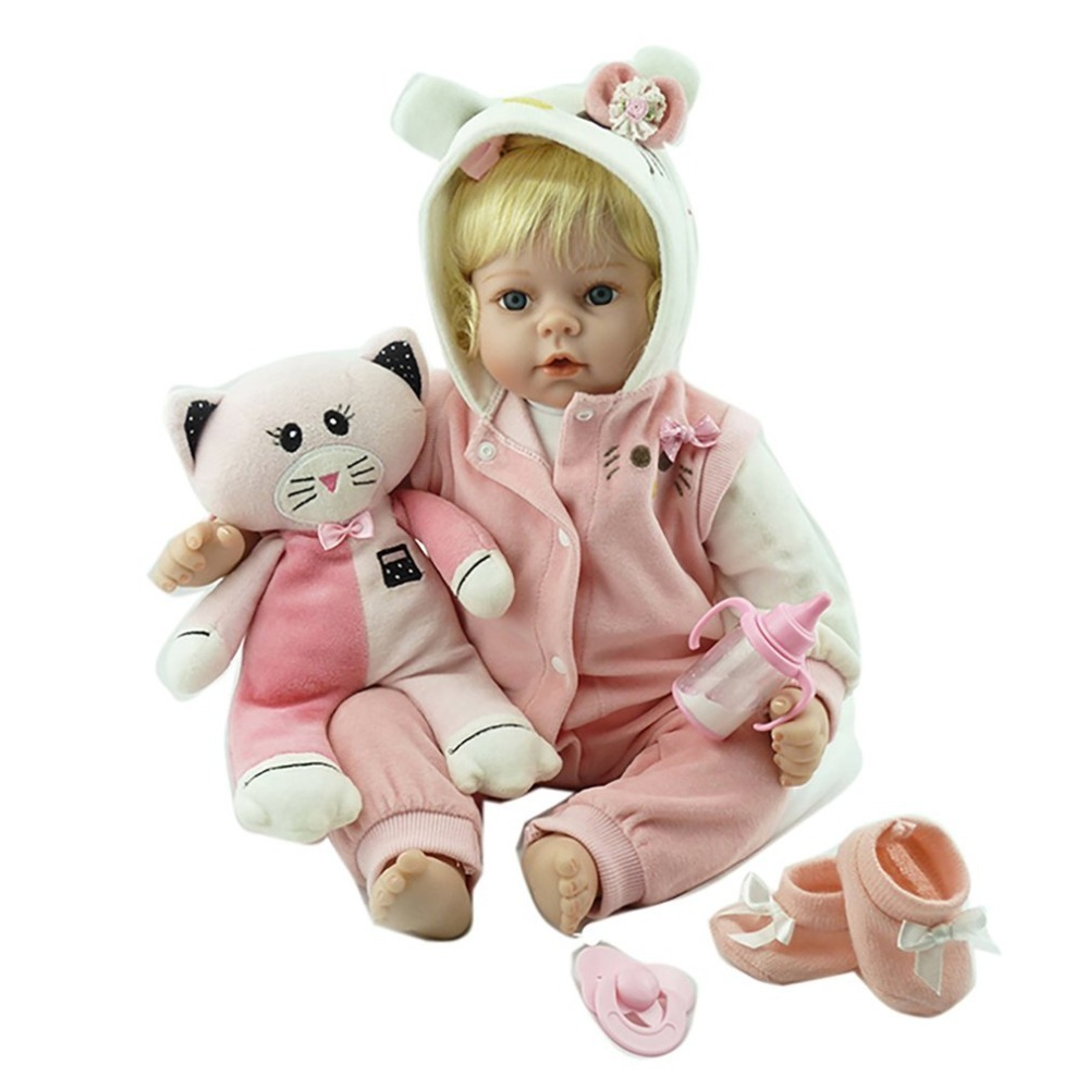 цена 55cm Silicone Baby Reborn Doll Soft Silicone Vinyl Baby Toys for Kids Girls Lifelike Playmate Gift Educational Toy Bebe Dolls