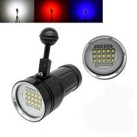Diving LED flashlight underwater photography fill light flashlight 15CREE XML2 white 18000Lumens with 6 * UV LED +6 *Red light
