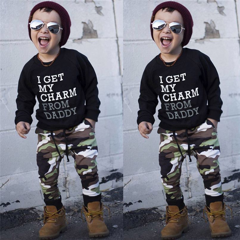 2PCS Kids Clothes Boys Toddler Kids Baby Boys Long Sleeve Letter Print Tops+Camouflage Pants Set Clothes Kids Sets JY12