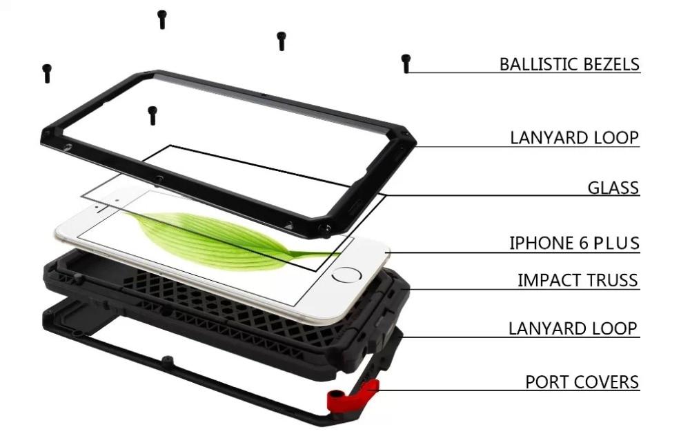 imágenes para Para El Iphone 7 y 7 Plus caso del defensor iphone7 vida Aleación resistente a la intemperie a prueba de golpes Hermética Al Polvo caso de la cubierta + Touch ID