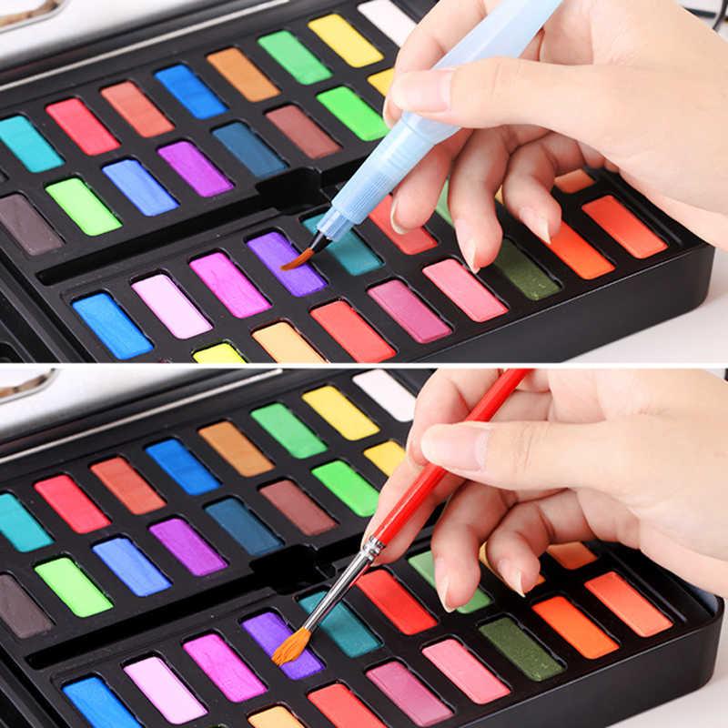 36 colores de pintura de acuarela sólida caja de hierro con pincel de papel de acuarela pigmento portátil para pintura de arte suministros