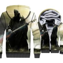 Love Music Guitar Jackets Men Punk Rock Hoodie Fashion Sweatshirt Winter Thick Fleece Zipper 3D Print Coat Kpop Sportswear