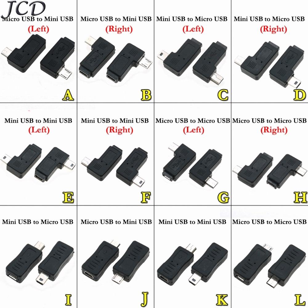 JCD Mini USB 5pin Female To Micro USB Male Data Sync Adapter Plug Micro USB To Mini USB Connector 90 Degree Left & Right Angled