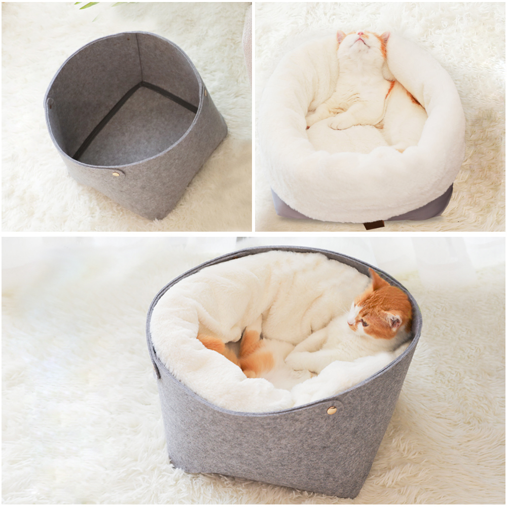 Pet Bed Cat House Pet Dog Bed for Cat Warm Beds Dogs Houses for Cats Pets Products House for Cats Puppy Soft Comfortable House in Cat Beds Mats from Home Garden