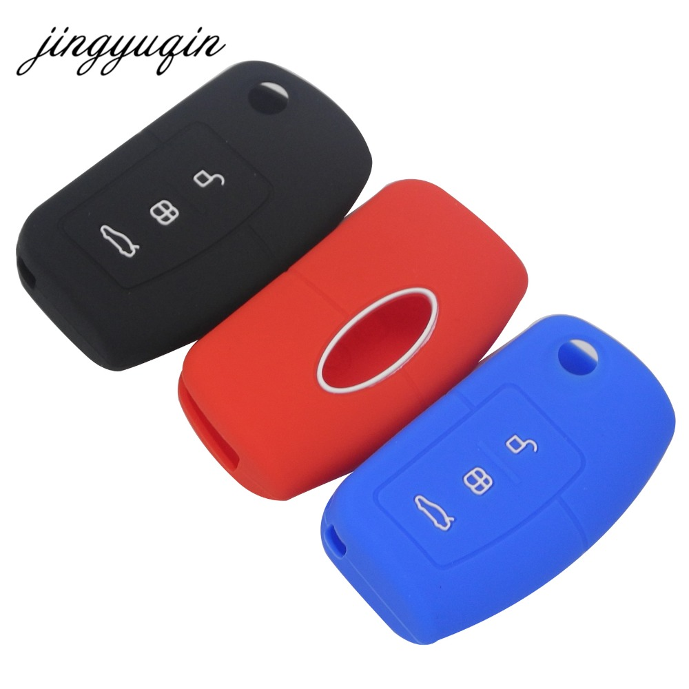 Jingyuqin Silicone Cover For Ford Fiesta Focus 2 Ecosport Kuga Escape Car Flip Folding Remote Key Case 3 Buttons