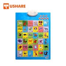 USHARE английские животные настенные диаграммы электронные звуковые настенные диаграммы язык обучения для детей детские развивающие игрушки