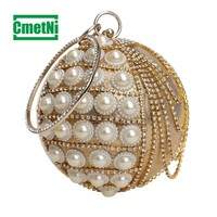 Round Rhinestone Clutch Round White Pearl Tote Metal High Quality Ladies Dinner Bag Shoulder Bag Tote and Wallet