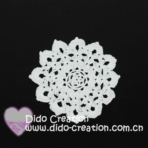 KT03016C Free shipping Handmade Crochet 100% Cotton Round White Cup Coaster mat pad Doily