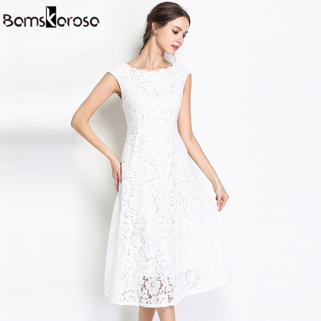 Summer Party Lace Dress Slim Sleeveless Women Floral Crochet Casual White Dresses Vestidos Ball Gown For Bridesmaid Wedding 3