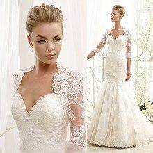 Glamorous White Lace 2015 Wedding Dress Mermaid Bridal Gowns with Jacket Saias Femininas Casamento W3591