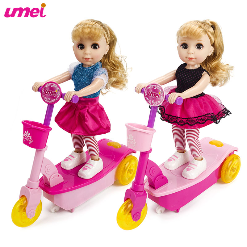 Original Hot Sale Fashion Pretty Baby Remote Control Scooter Vehicle Dolls with Music and Light Birthday Gifts Toys for Children