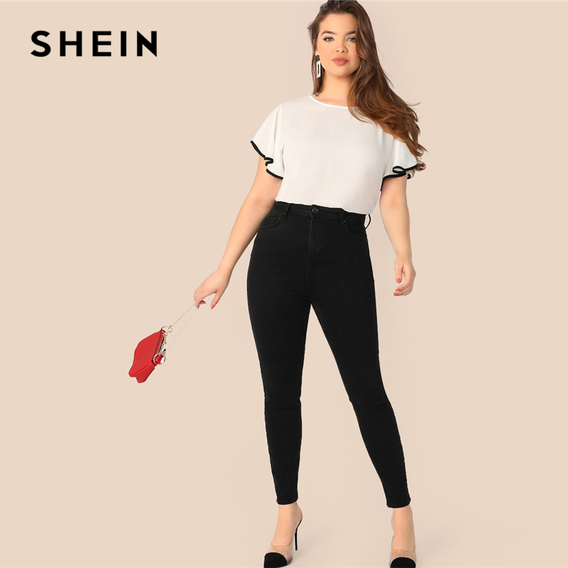 18bfc90bac5b SHEIN Plus Size White Contrast Binding Butterfly Sleeve Button Ruffle Top  Blouse Women 2019 Spring Casual Round Neck Top Blouses-in Blouses & Shirts  from ...